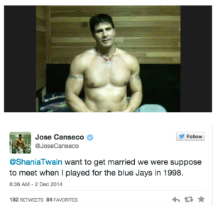 PIC: Jose Canseco Asks Shania Twain To Marry Him On Twitter