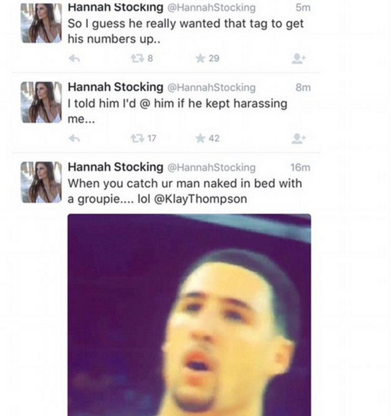 PICS: Klay Thompson's Girlfriend, Hannah Stocking, Tweets About Him Cheating... Uh Oh